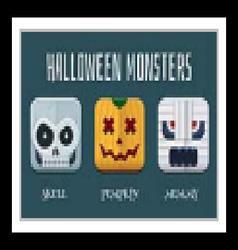 Halloween monster icon set vector