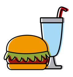 Hamburger with milkshake vector