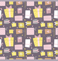 hand drawn seamless pattern with box and confetti vector image