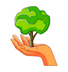Hand holding green tree ecology vector