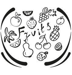hand made the set fruits of icons vector image