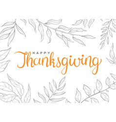 Happy thanksgiving text with hand drawn autumn vector
