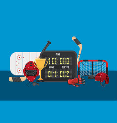 Hockey time with points and goal in the rink vector