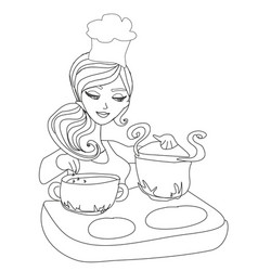 Housewife cooking soup - doodle vector