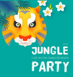Jungle patry design template with tiger face vector