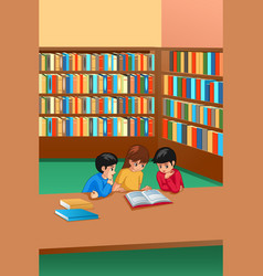 Kids studying in library vector