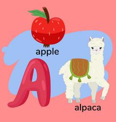 Letter a from children s alphabet vector