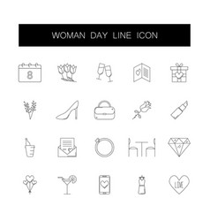 line icons set 8 march woman day pack vector image