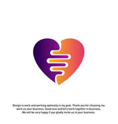 Love heart with pulse logo elements and symbols vector