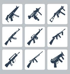Machine guns and assault rifles icons set vector