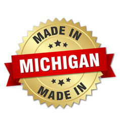 Made in michigan gold badge with red ribbon vector