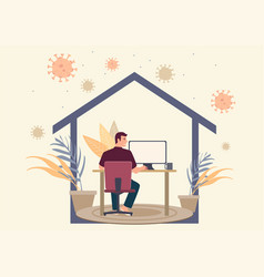 Man working at home during coronavirus pandemic vector