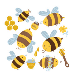 many characters cute yellow and black bees set vector image