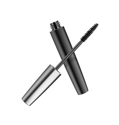 mascara in dark metallic shiny tube on background vector image
