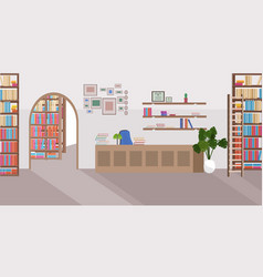 modern library interior empty no people bookstore vector image