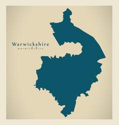Modern map - warwickshire county england uk vector