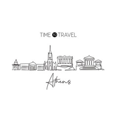 One continuous line drawing athens city vector