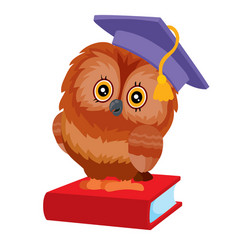 owl has a student hat on her head and she is vector image
