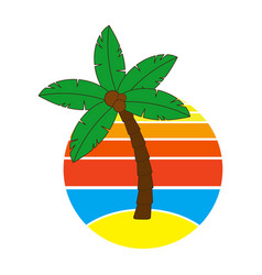 Palm tree and sunrise or sundown on hawaii at vector