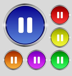 Pause icon sign Round symbol on bright colourful vector