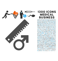 penis measure icon with 1300 medical business vector image