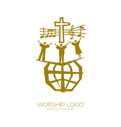 People all nations sing a song worship vector