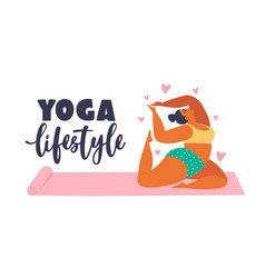 plus size young women doing fitness yoga forward vector image