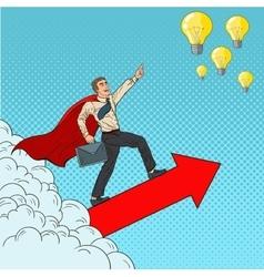 Pop art hero super businessman flying vector