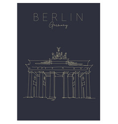 poster brandenburg gate dark vector image
