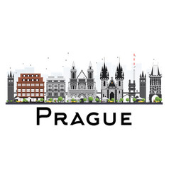 Prague skyline with gray buildings isolated on vector