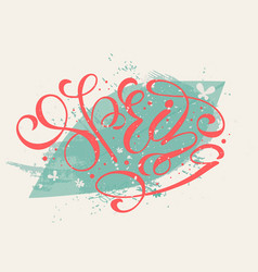 red letters spring on green vector image