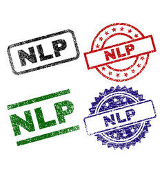 Scratched textured nlp seal stamps vector