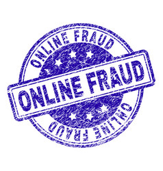 Scratched textured online fraud stamp seal vector