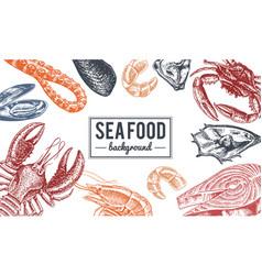 Seafood background crustaceans shrimp lobster vector