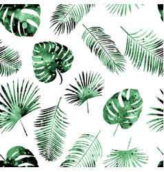 seamless color pattern with palm leaves on vector image