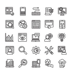 seo and web optimization line icons 2 vector image