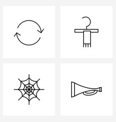 Set 4 line icon signs and symbols continue vector