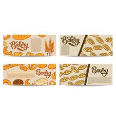 set bakery flyer templates fresh baked goods vector image
