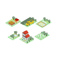 set farm icons in modern 3d style vector image