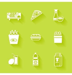 Set of white grocery and food icons vector image