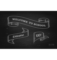 set old vintage ribbon banners and drawing in vector image
