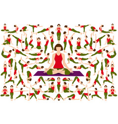 set yogi woman in asana pose vector image