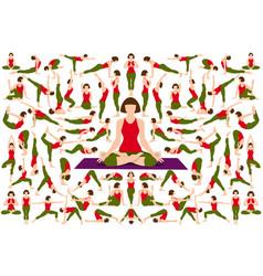 Set yogi woman in asana pose vector