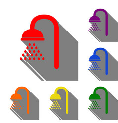 shower sign set of red orange yellow green vector image