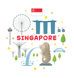 Singapore travel attraction label vector