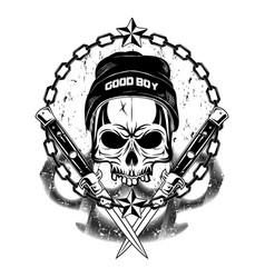skull in a cap 2 vector image