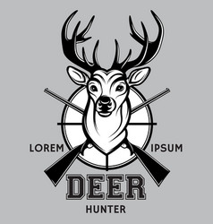 sports monochrome badge on hunting with deer vector image