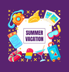 Summer vacation cartoon icons used in framed vector