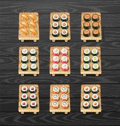 Sushi roll set Japanese sushi vector