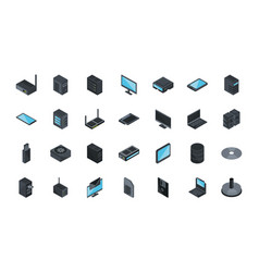 technology hardware device computer icons set vector image